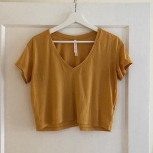 Mustard cropped t from aritzia